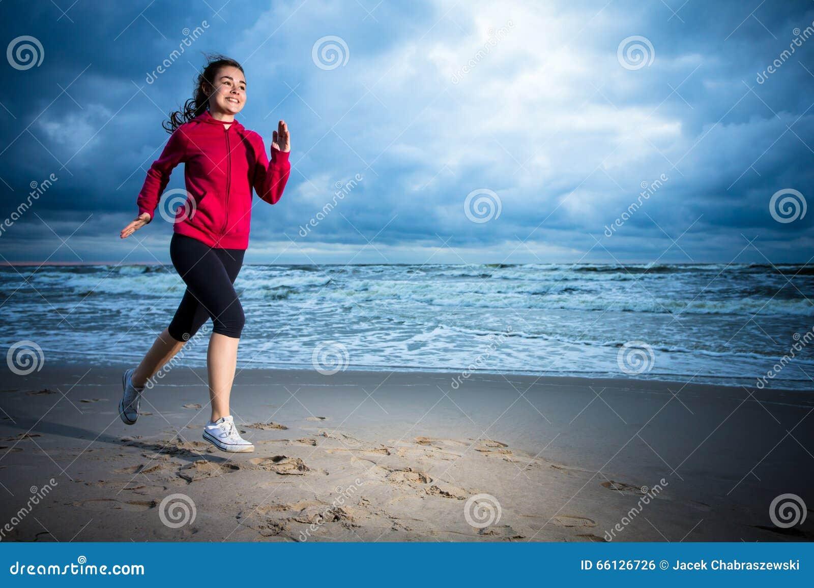 Girl Running On Beach Stock Photo - Image: 66126726 Girl Running On Beach