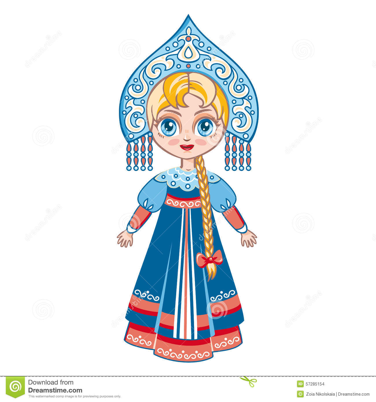 The Girl In The Russian National Suit. Historical Clothes