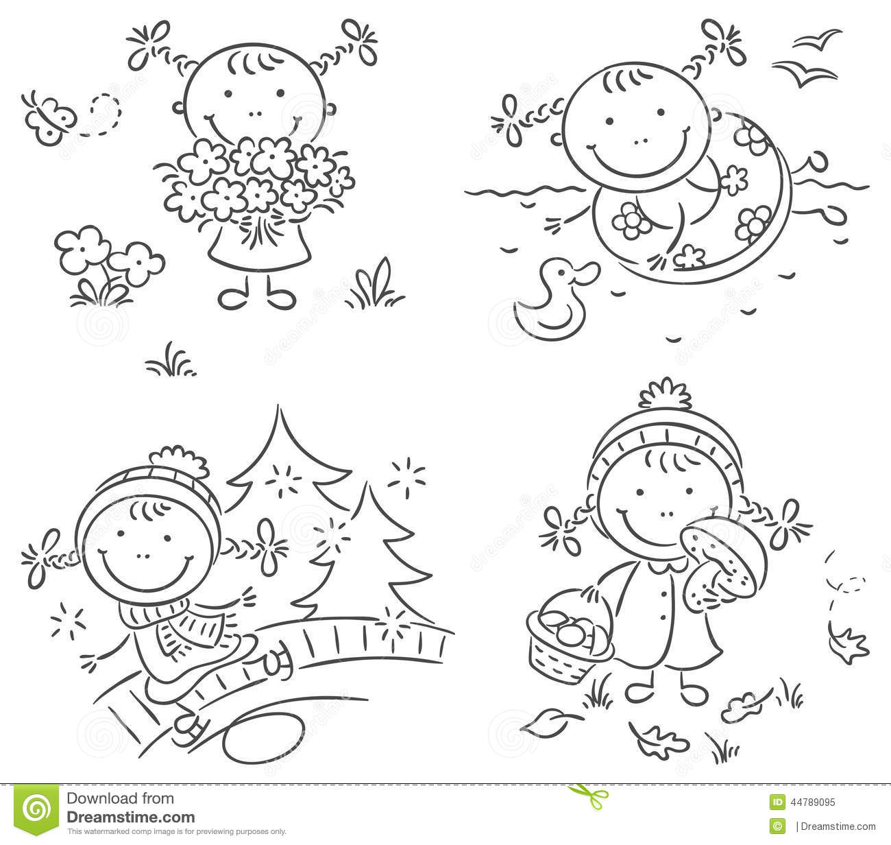 Girls Activities During The Four Seasons Stock Vector