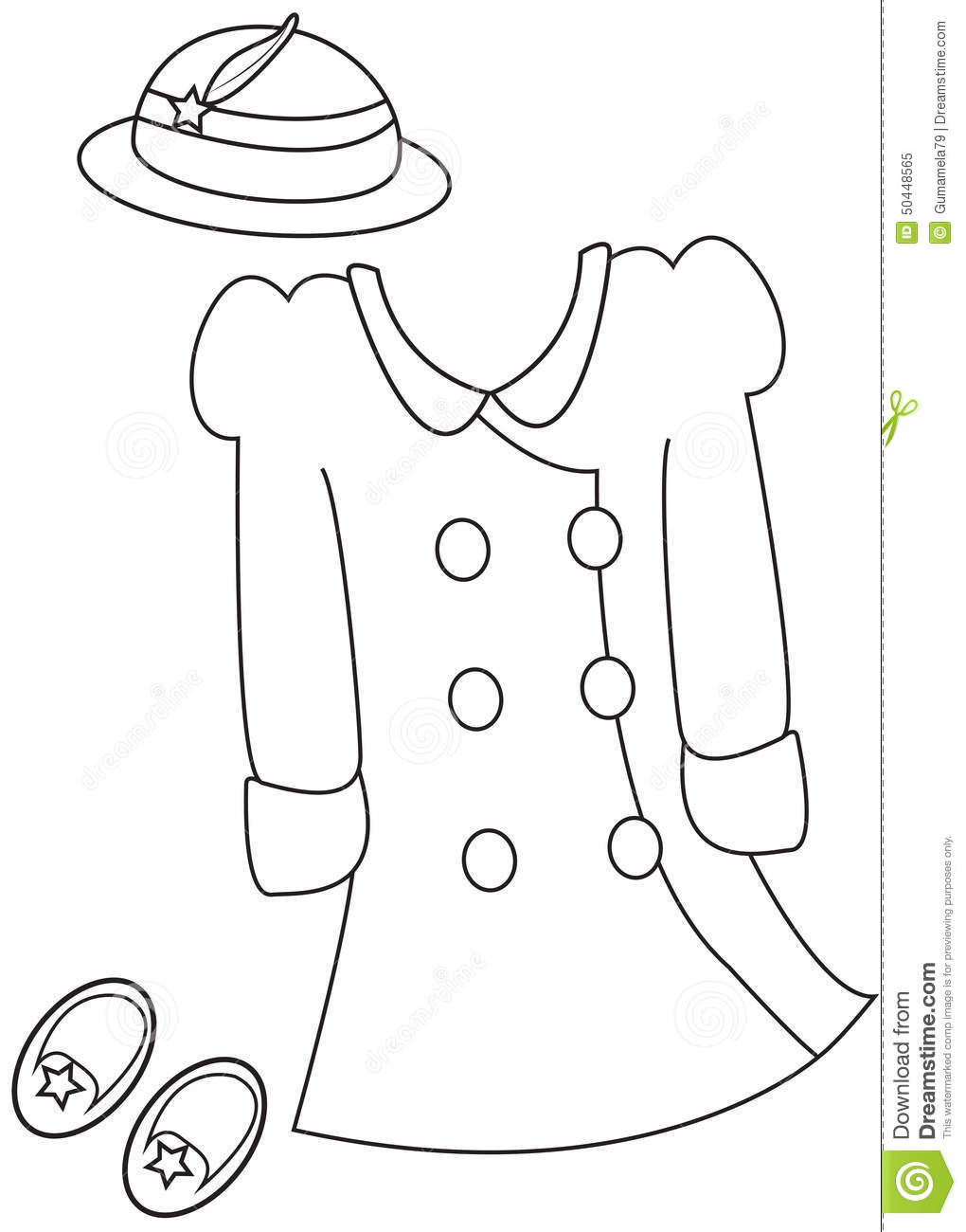 Girl S Clothes Coloring Page Stock Illustration Image