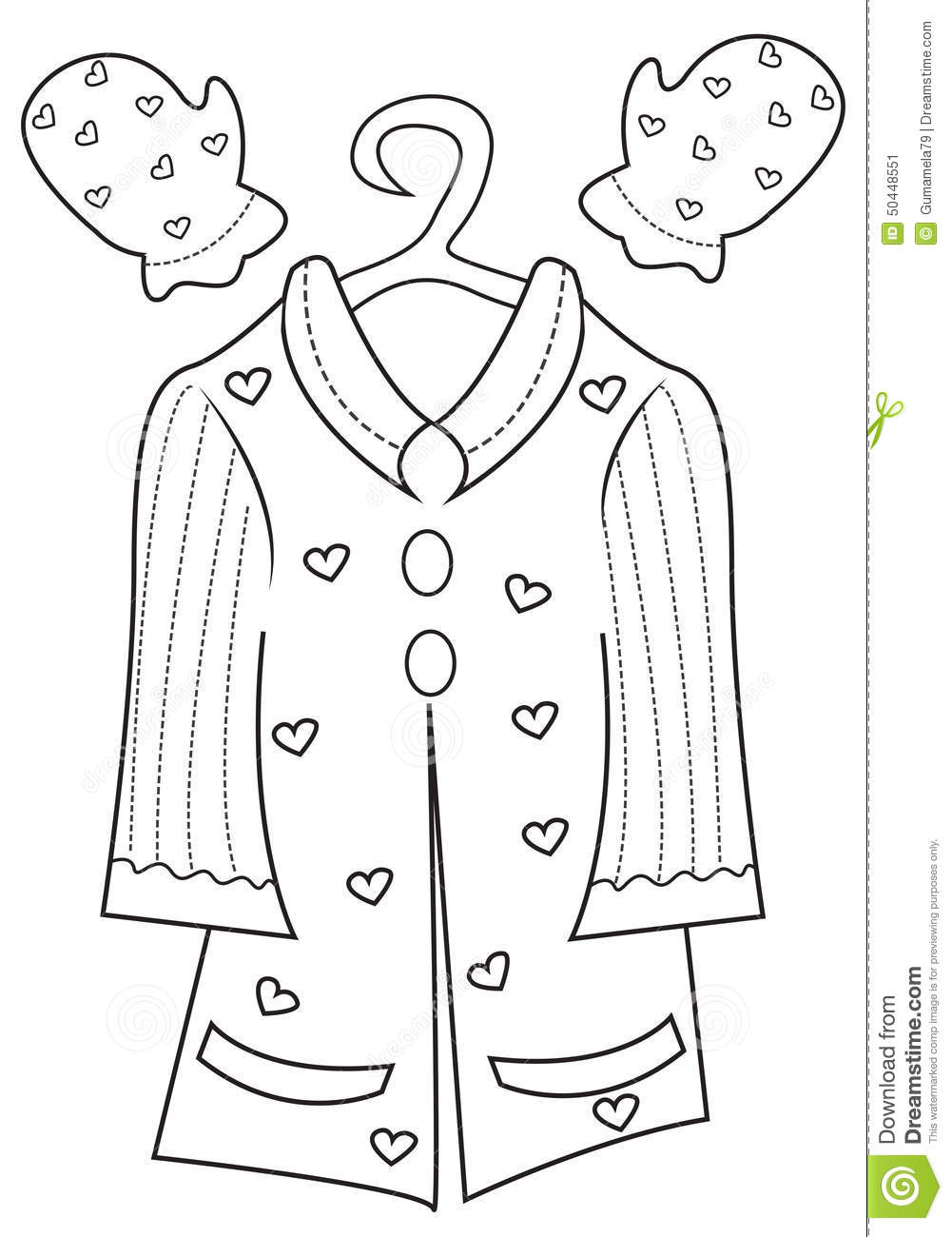 girls clothing coloring page stock illustration image