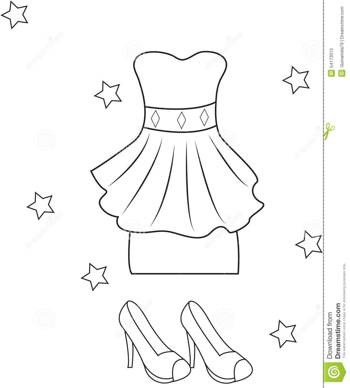 Stock Photos Girls Dress And Sandals Coloring Page