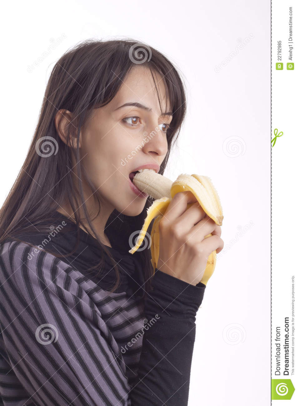 Girl's eating a banana stock image. Image of smile ...