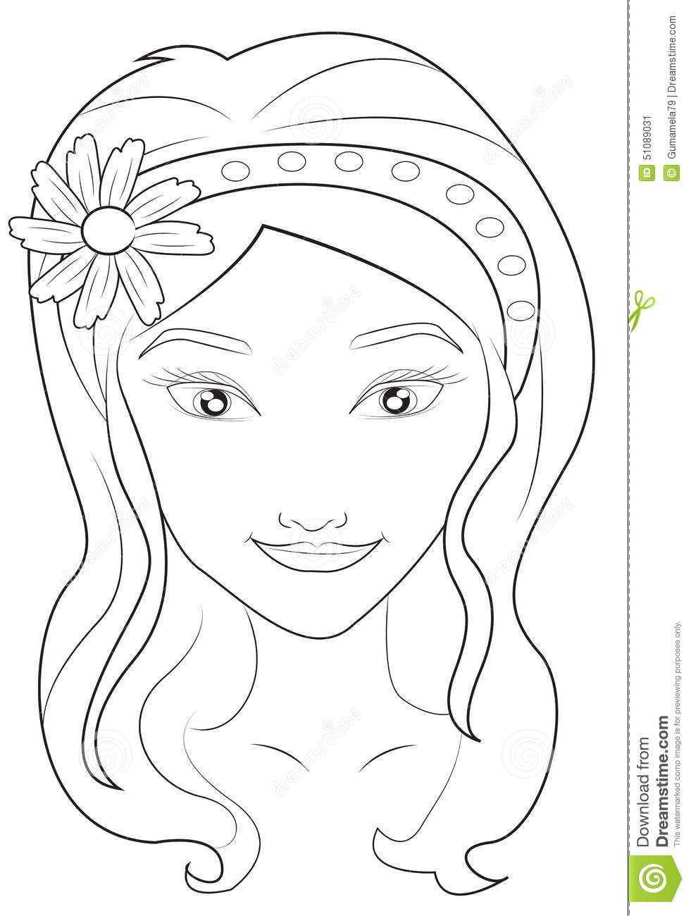 coloring pages of girls faces girl 39 s face coloring page stock illustration illustration