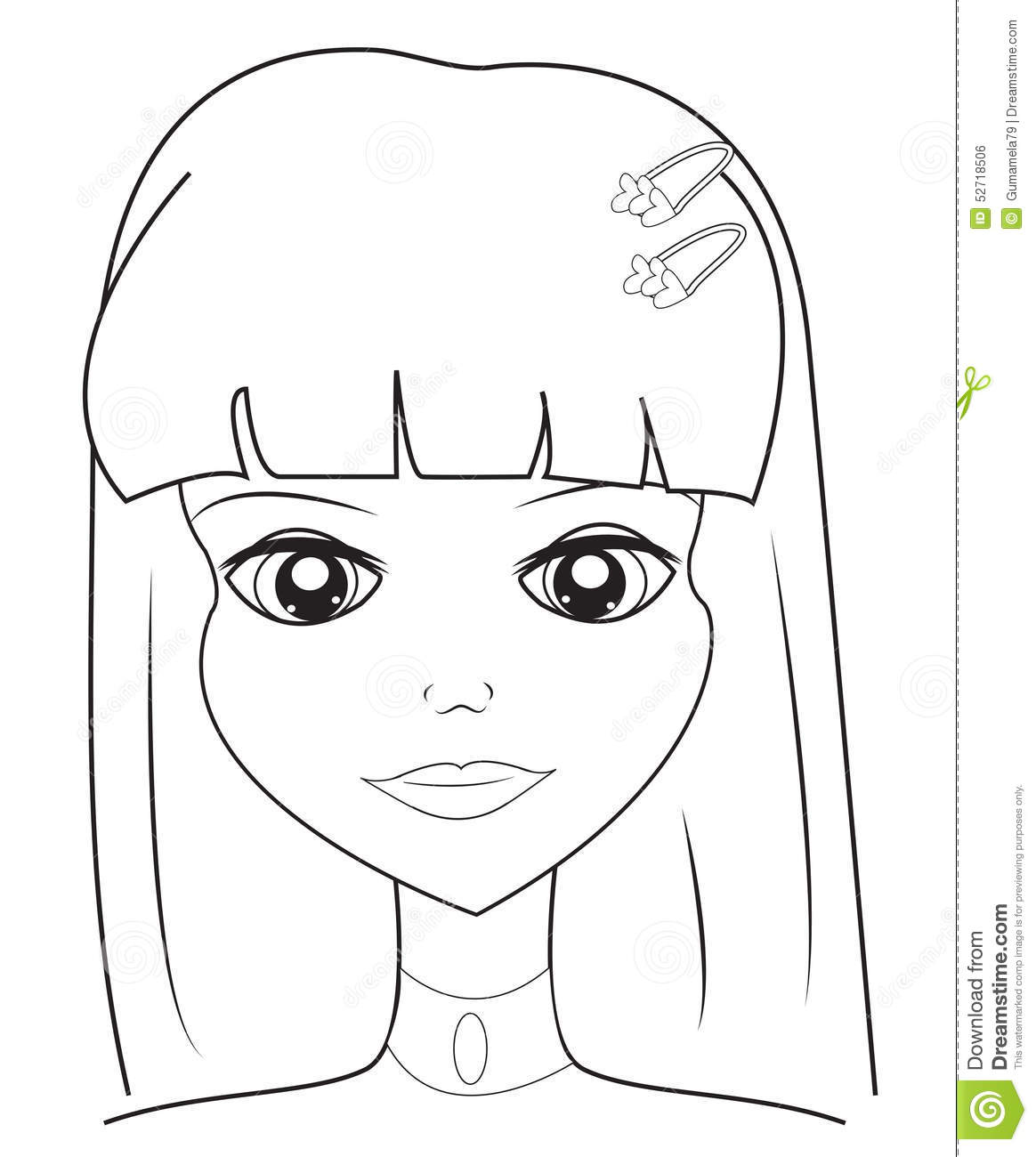 Girls Face Coloring Page Stock Illustration Image Of