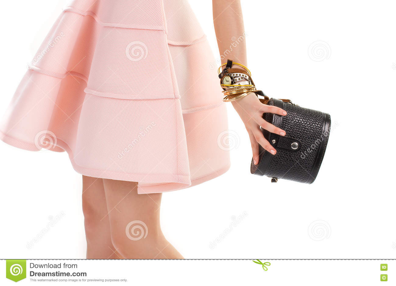 5c2707c385de Girl s Hand Holds Black Purse. Stock Photo - Image of black