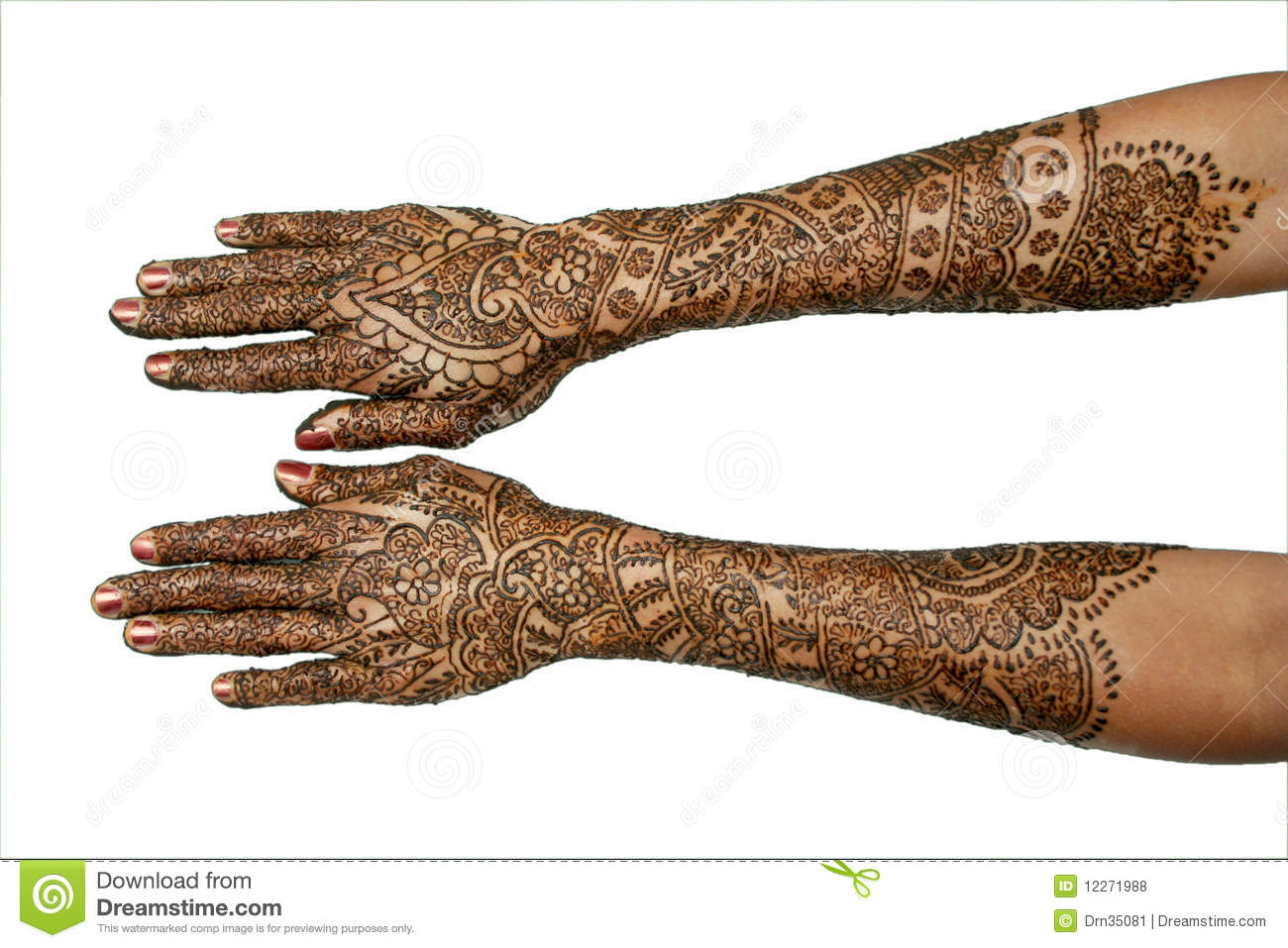 Mehndi Hands Xl : A girl s hands with mehndi stock photo image