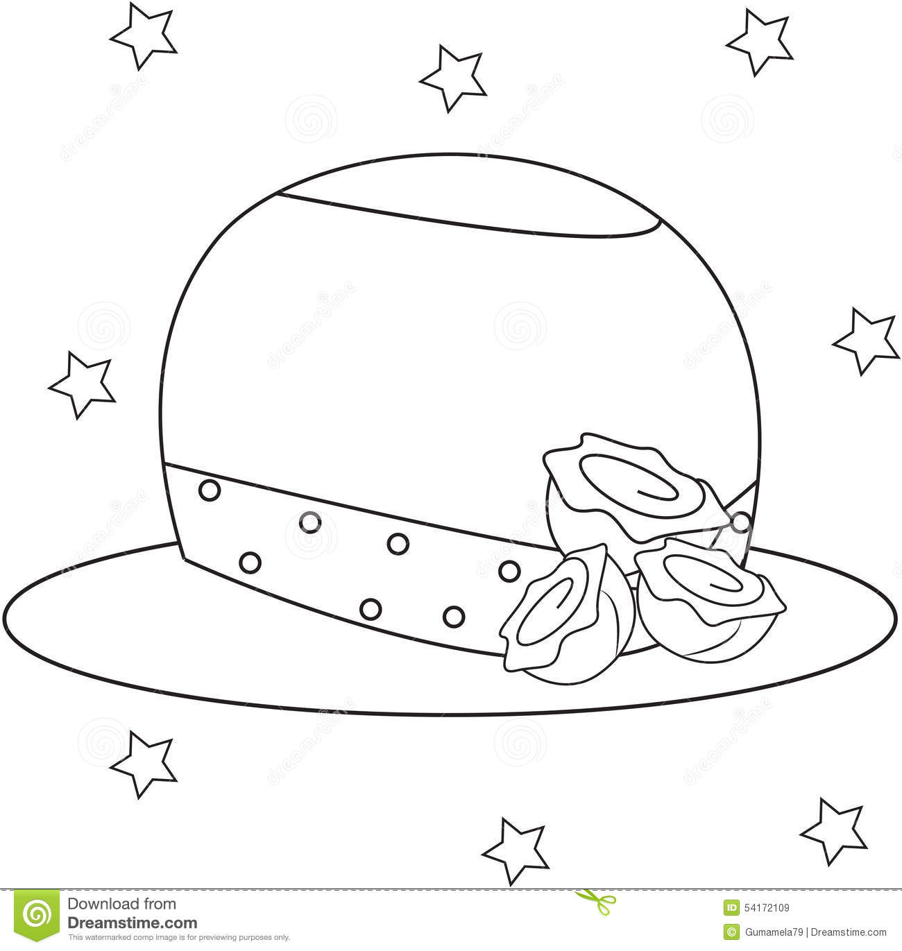 u0027s hat with roses coloring page stock illustration image