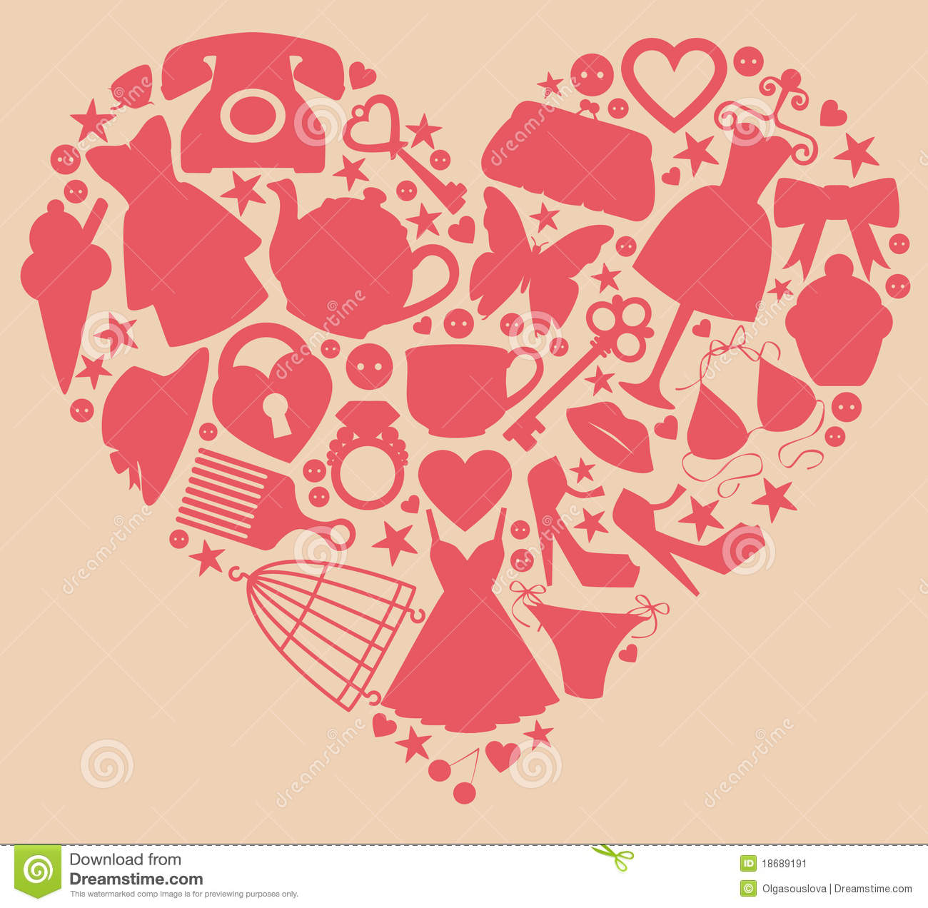 Girls heart stock vector illustration of clutch birdcage 18689191 elements representing silly things that girls love buycottarizona Image collections