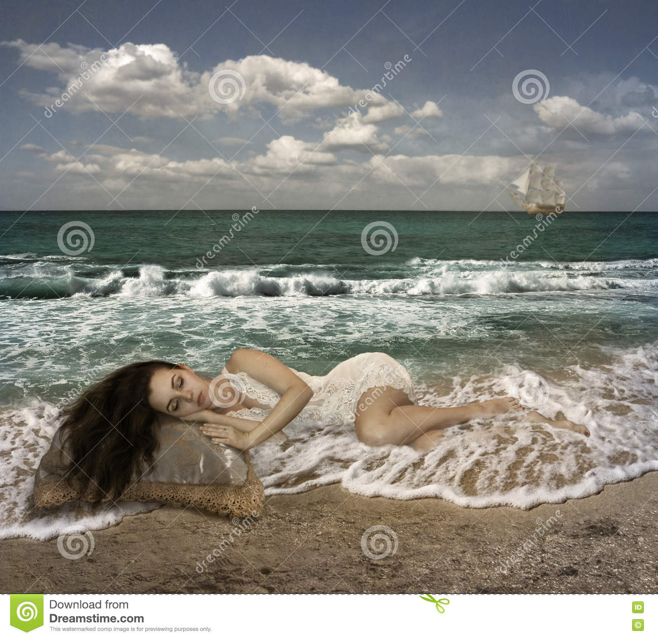 Girl S Marine Dreams Stock Photo Image Of Young Clouds