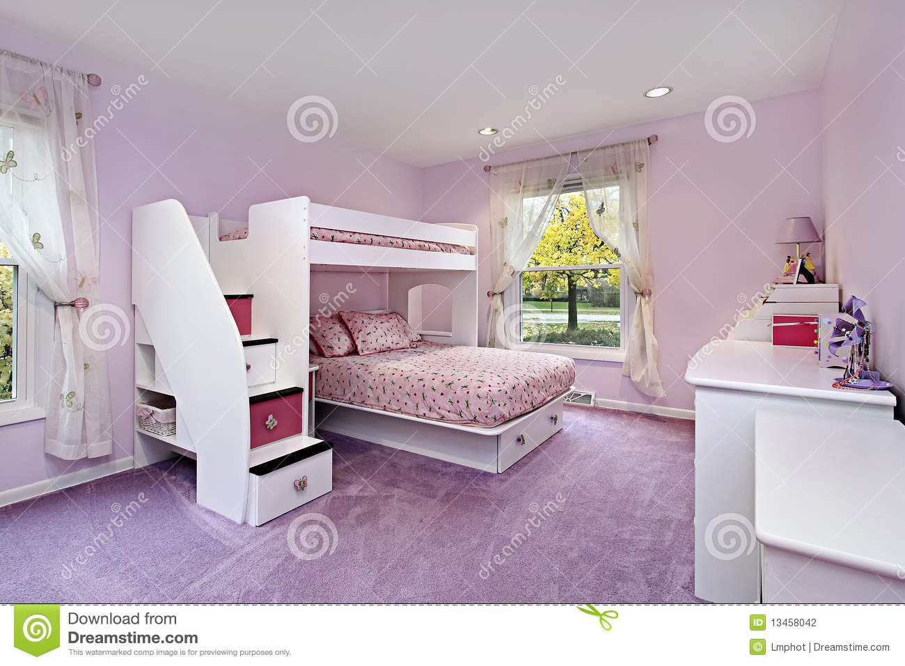 Girls Room With Bunk Bed Stock Photo Image Of Carpet