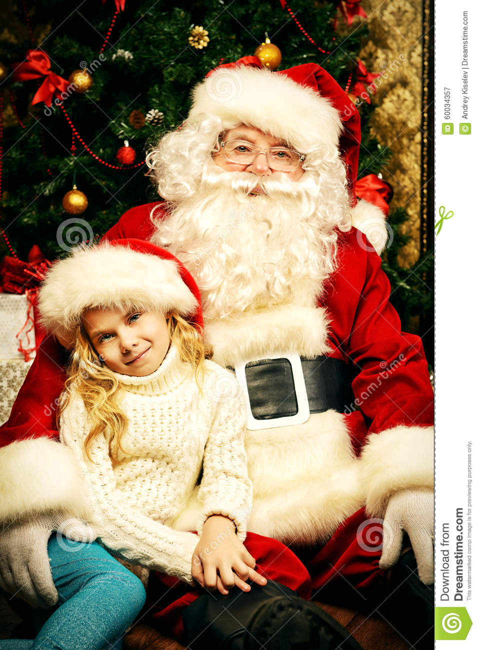 Girl And Santa Claus S...
