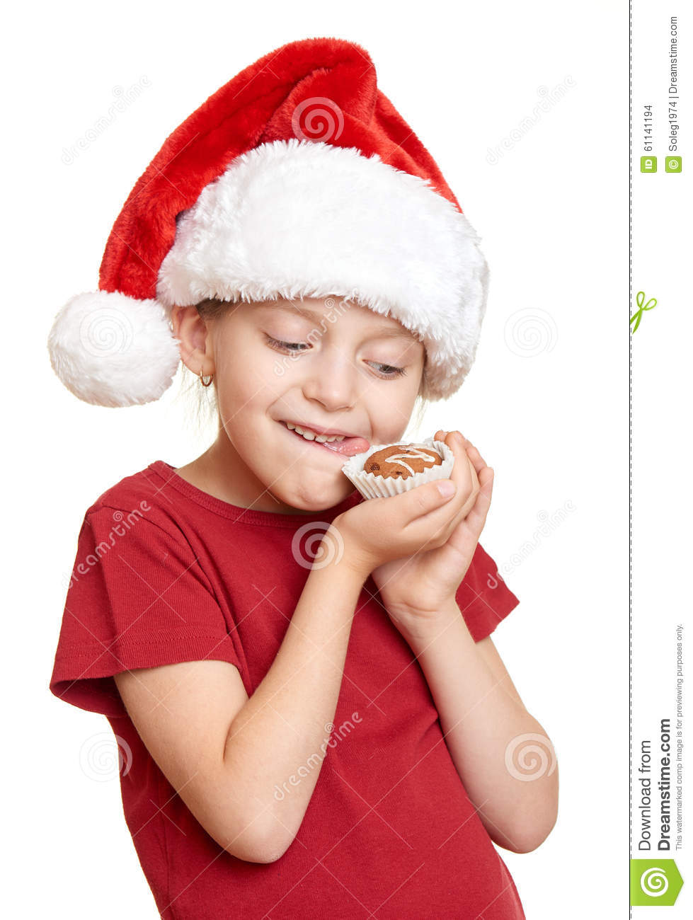 Girl In Santa Hat Eat Cookies And Lick Oneself Winter Holiday