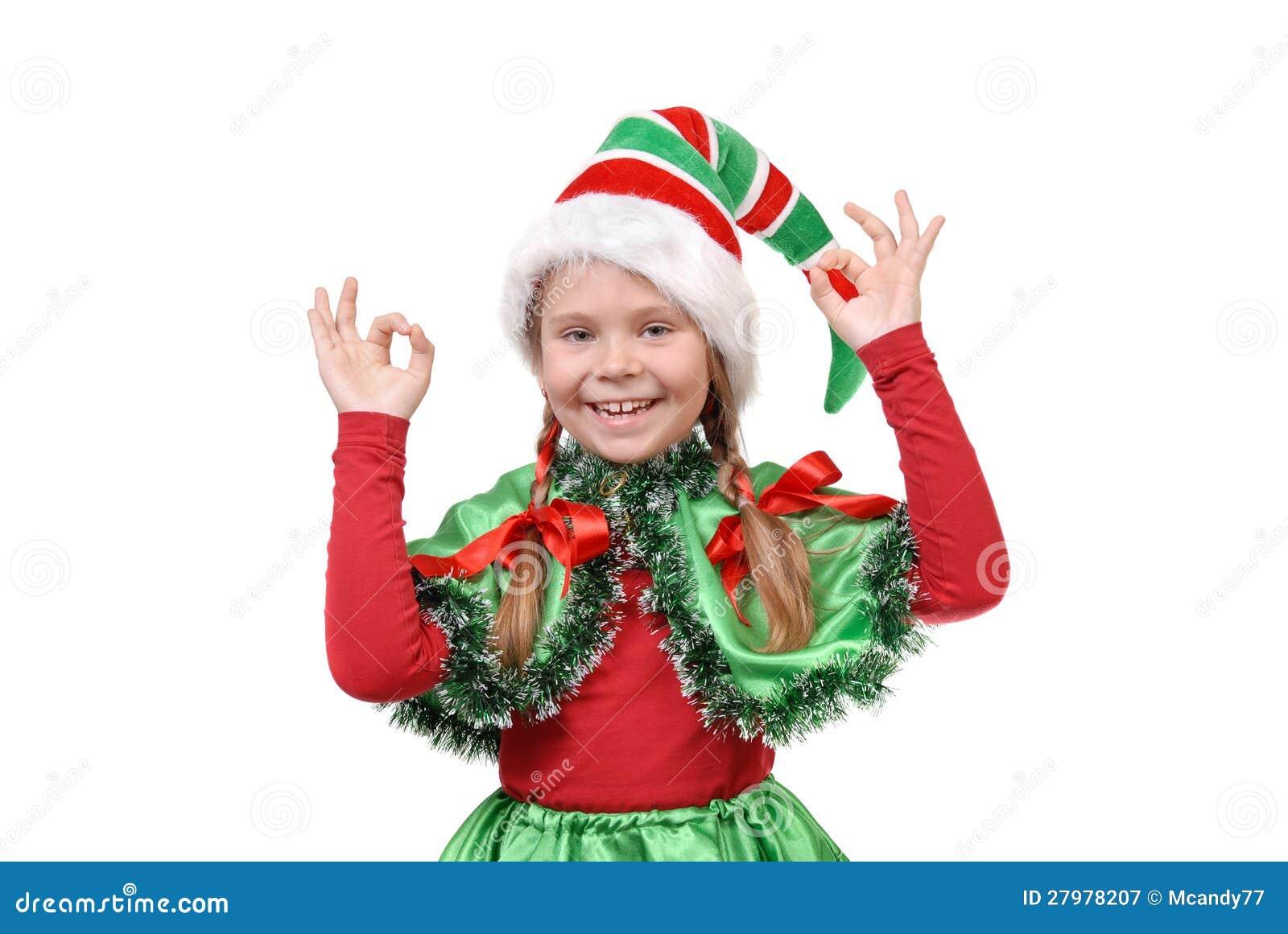 Girl santa s elf showing sign ok royalty free stock photography