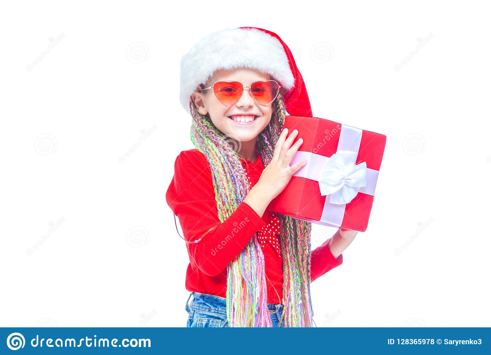 92ff8a0bf26 Girl In Santa`s Hat. Portrait Of Little Cute Girl Holding Box Of ...