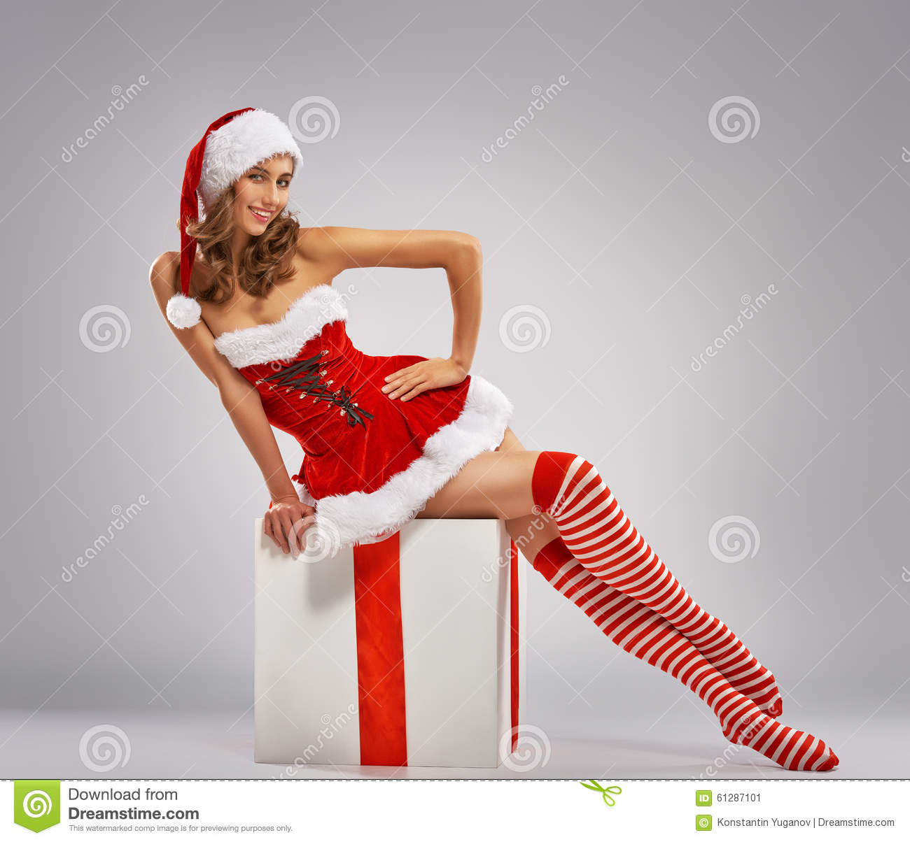 Girl In Santas Hat Stock Photo