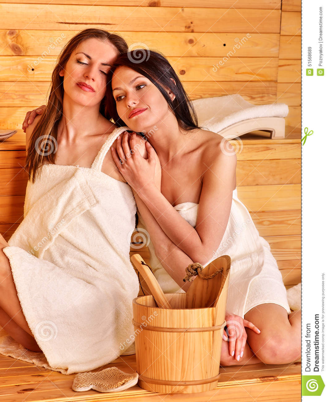 Two Girls Relaxing In Sauna Stock Photo - Download Image