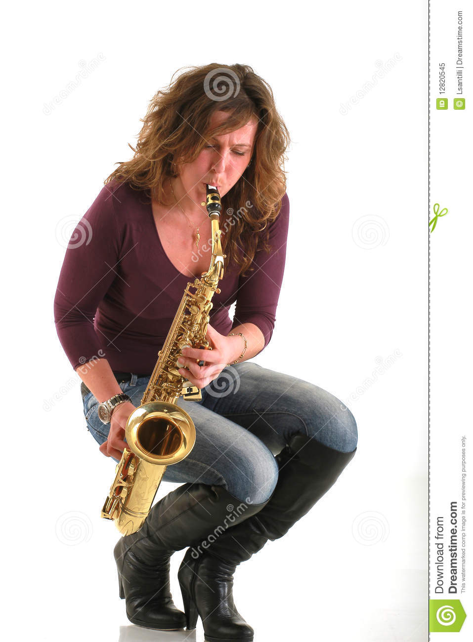 Girl With Sax Royalty Free Stock Photo - Image 12820545-8057