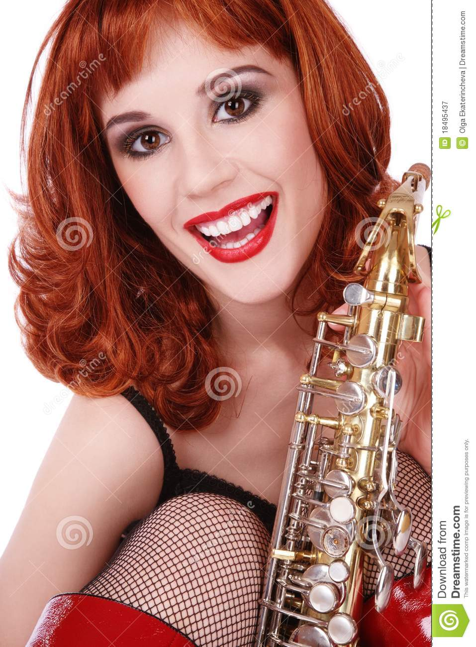Garl Sax Com girl with sax stock image. image of friendly, excited - 18495437