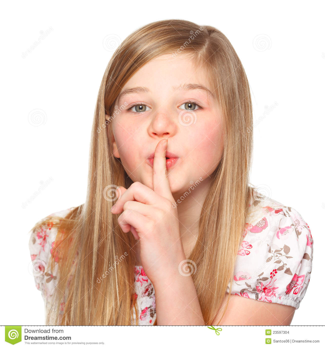 Girl Says Be Quiet With Her Finger On Lips Stock Images