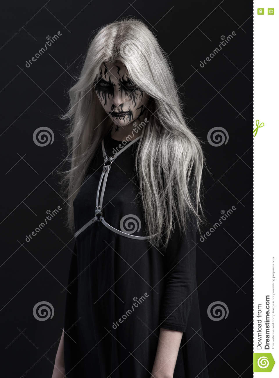 Girl with scary makeup on face
