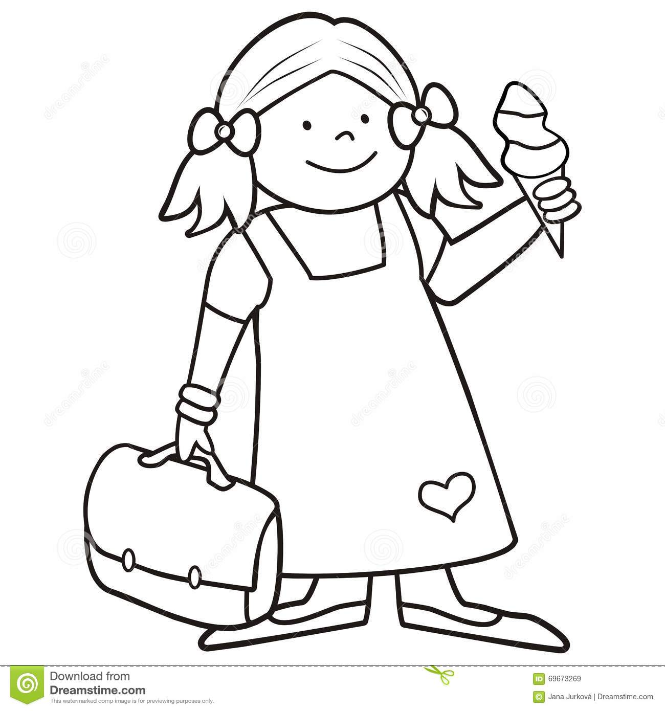 girl and schoobag coloring book stock vector illustration of