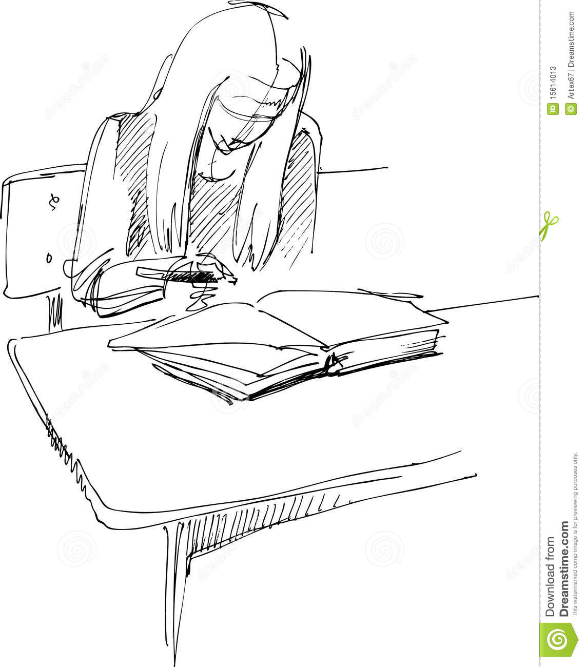 school desk drawing. royalty-free stock photo. download girl after a school desk drawing