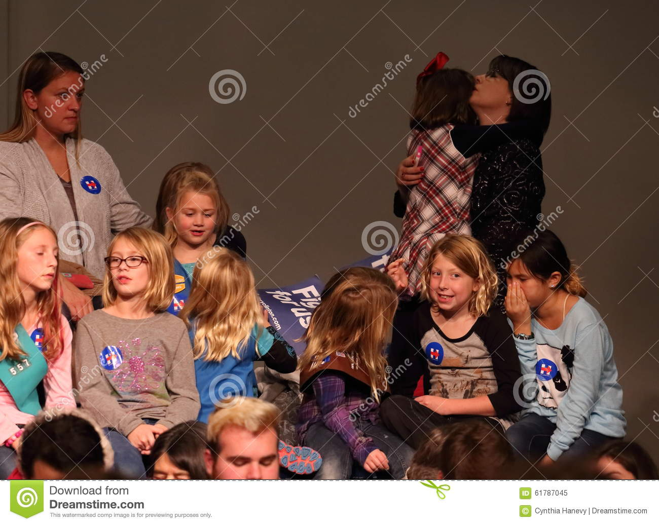 girl scouts waiting for hillary rodham clinton to speak