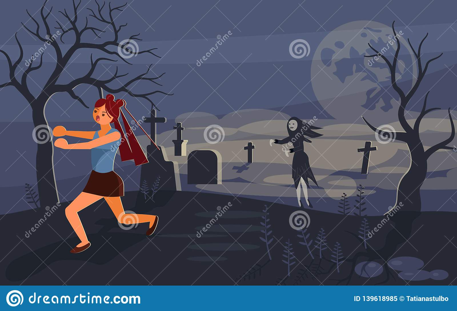 Ghost and lonely woman on cemetery