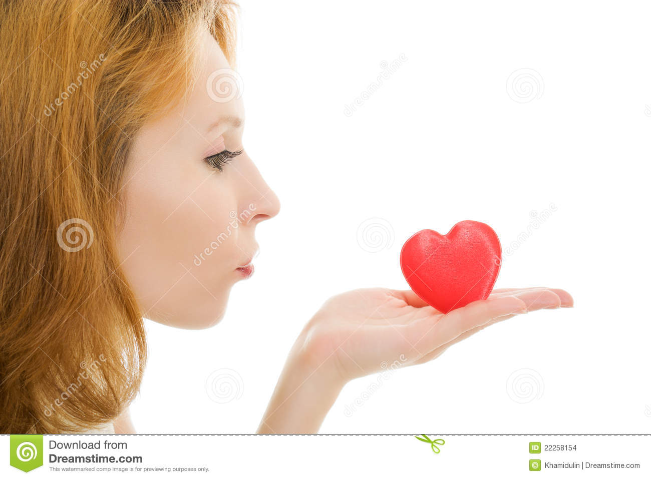 The Girl Sends An Air Kiss In The Form Of Heart Stock ...