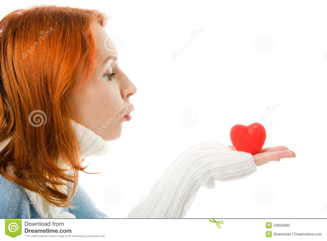 The Girl Sends An Air Kiss In The Form Of Heart Royalty ...