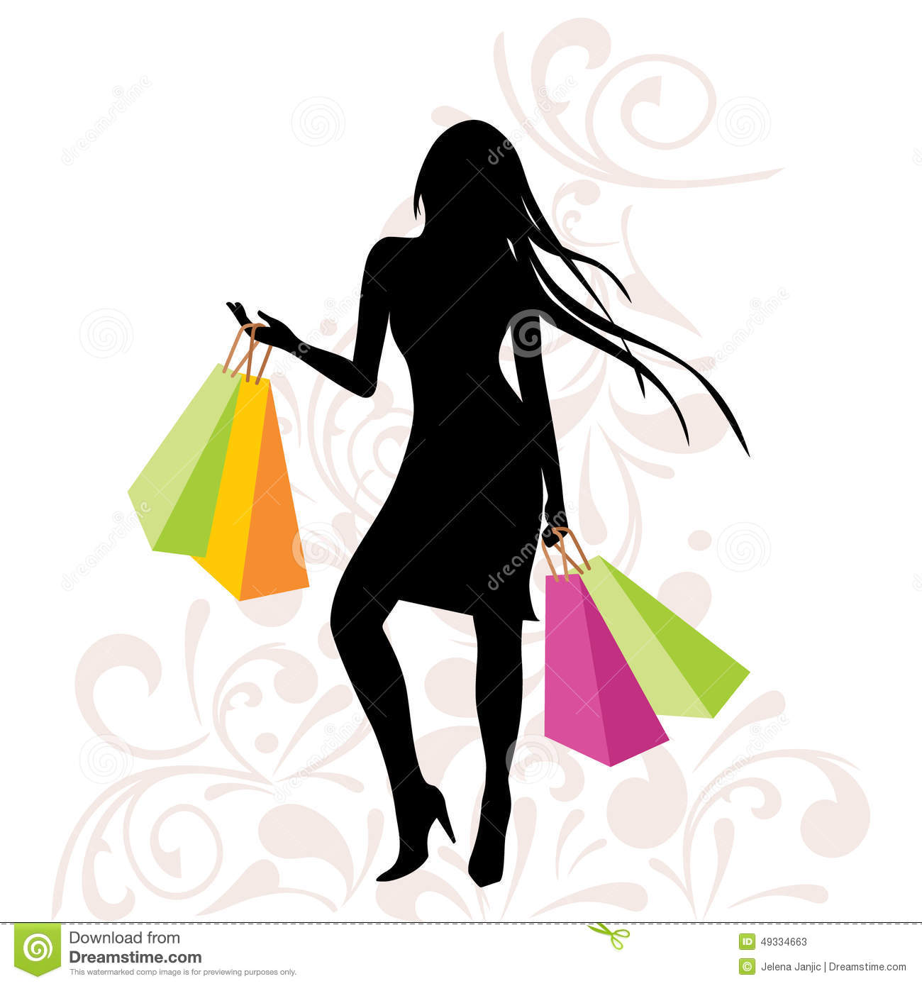 Girl With Shopping Bags On Floral Background Stock Vector ...