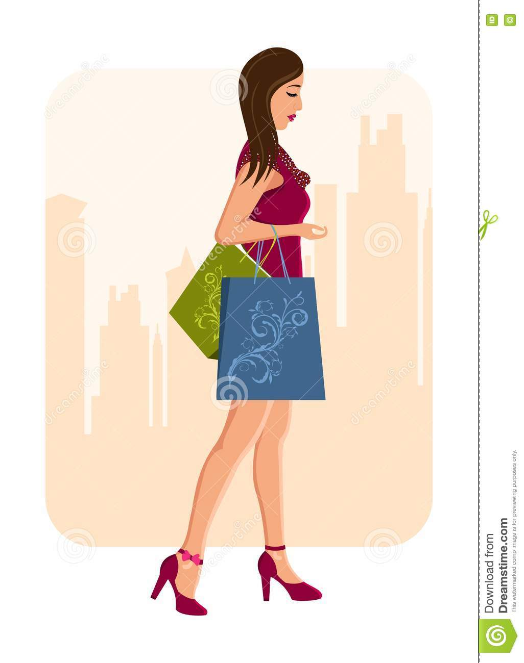 Girl With Shopping Bags, Urban Background Stock Photos ...