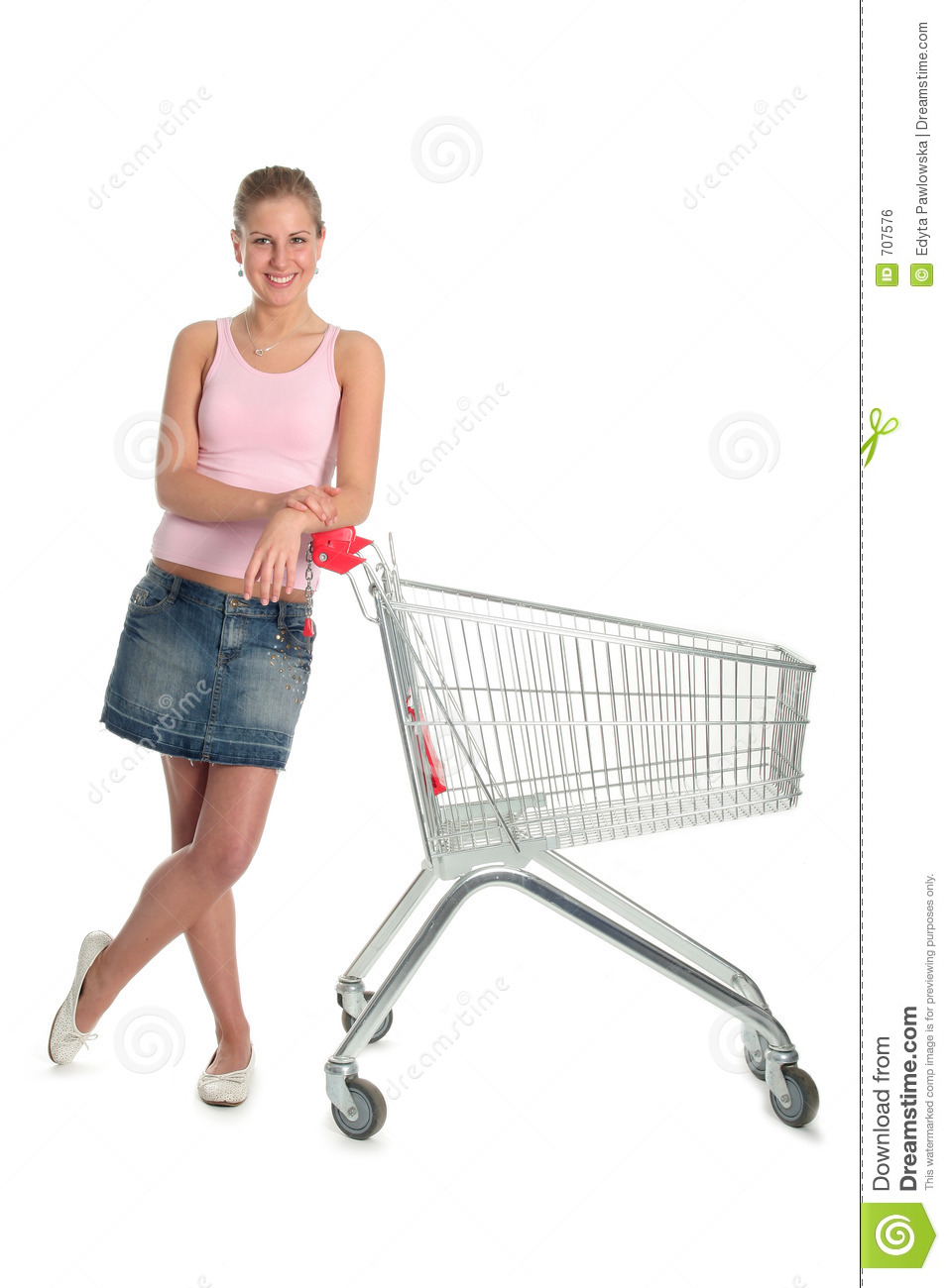 Girl with shopping cart