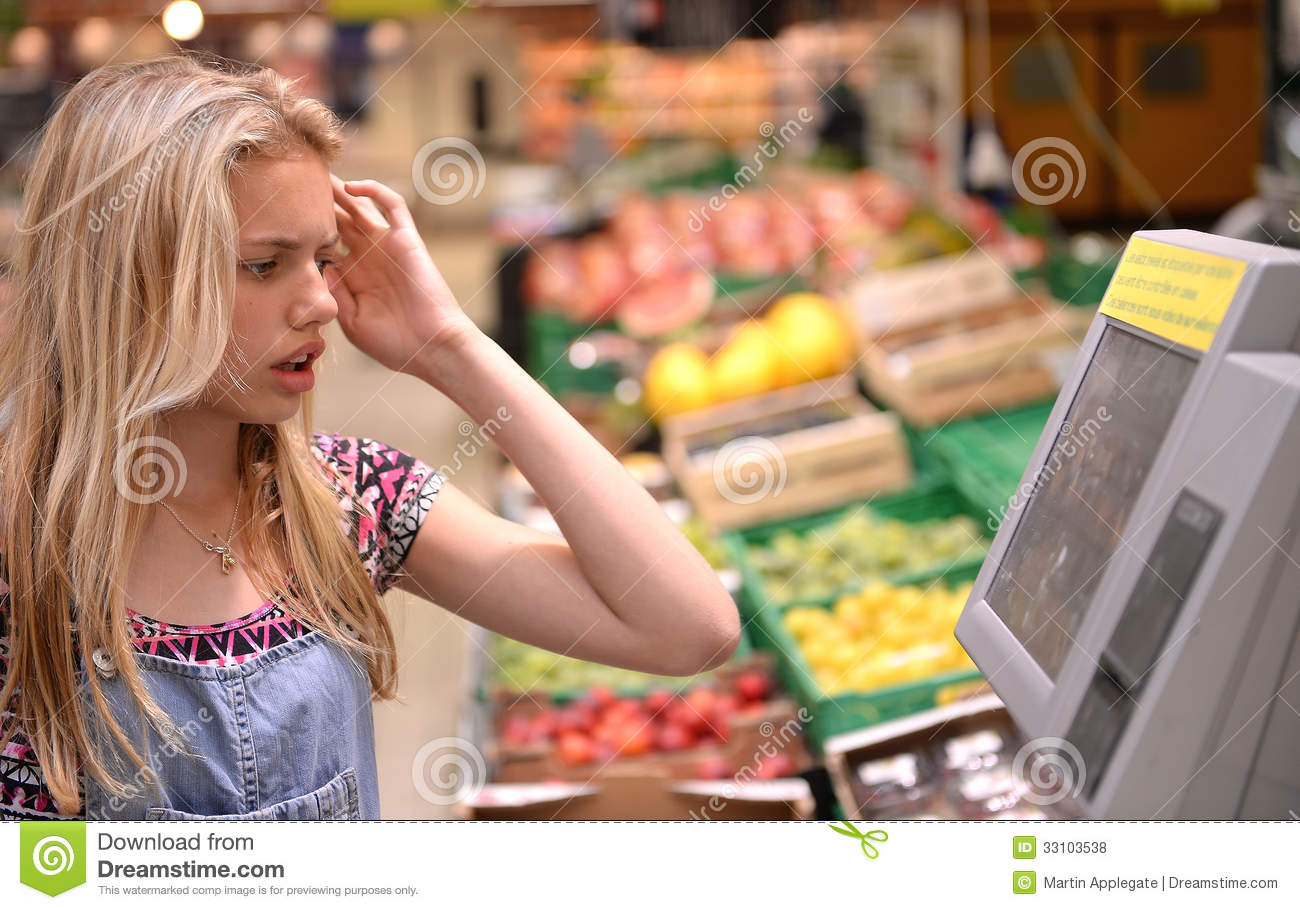 Girl shopping in grocery store