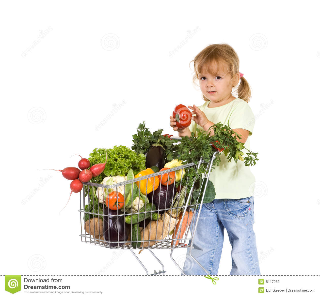 Girl shopping for healthy food