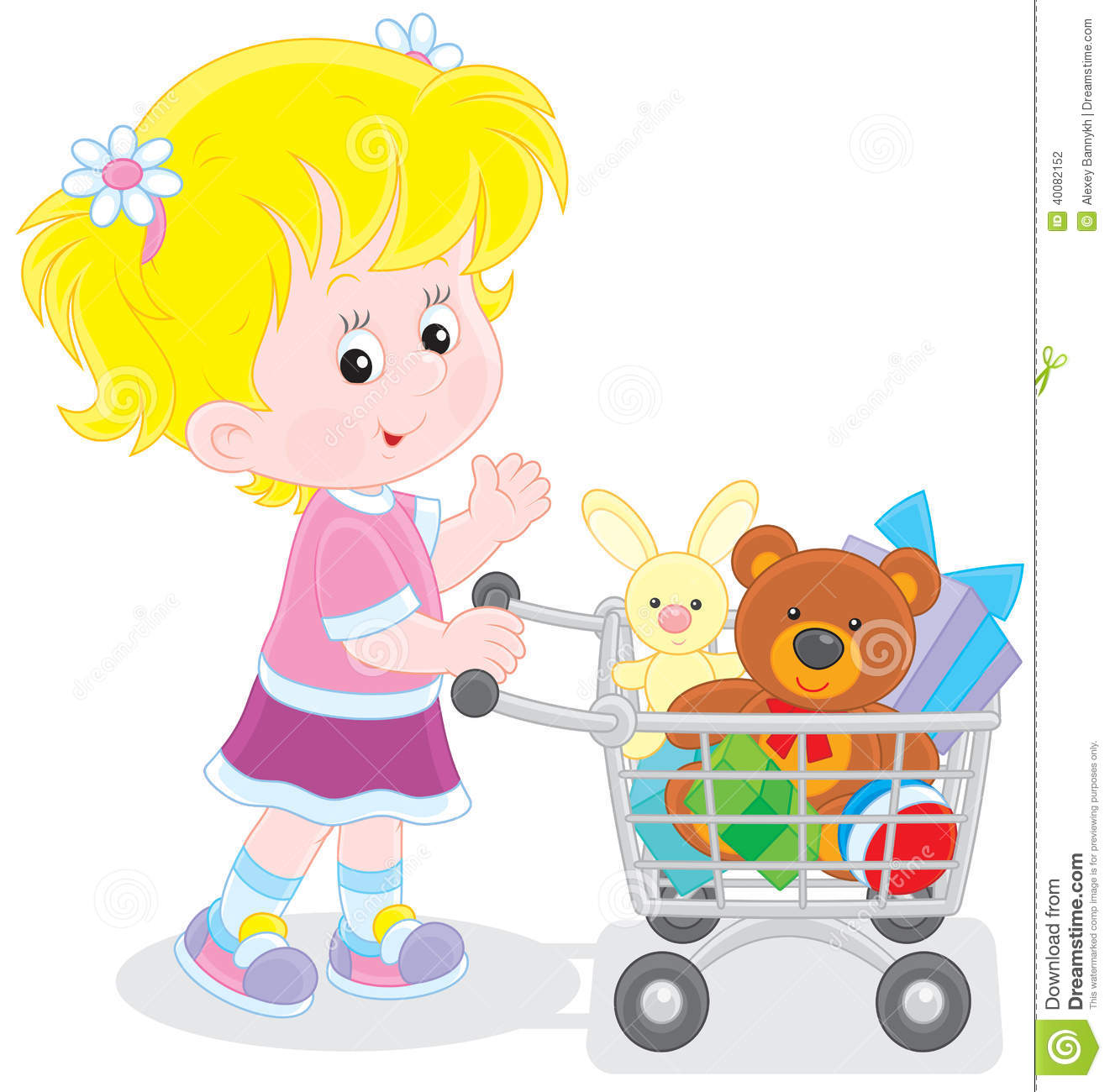 b74e085842a1 Girl With A Shopping Trolley Of Toys Stock Vector - Illustration of ...