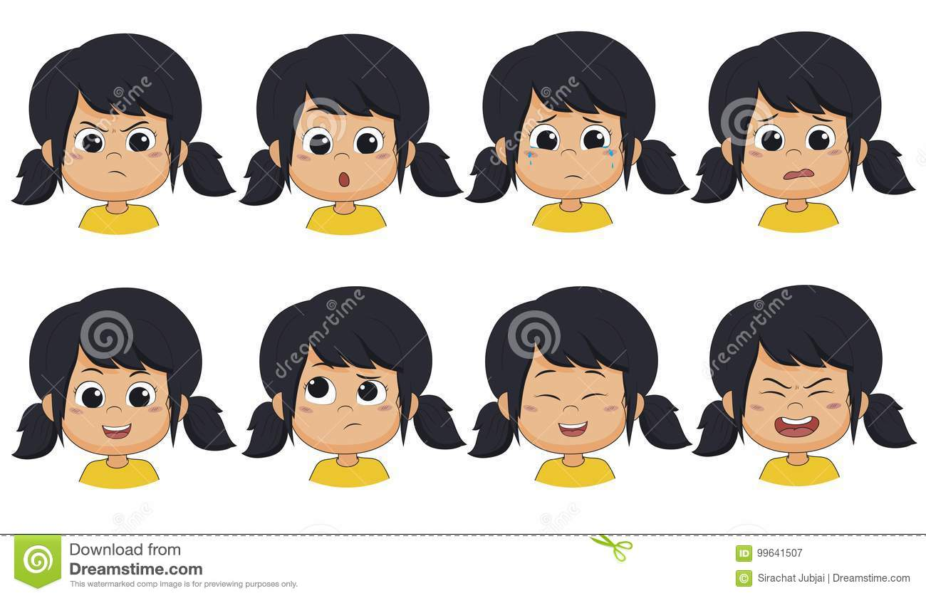 The girl show expression such as angry ,surprised,cry,fear,smile,think