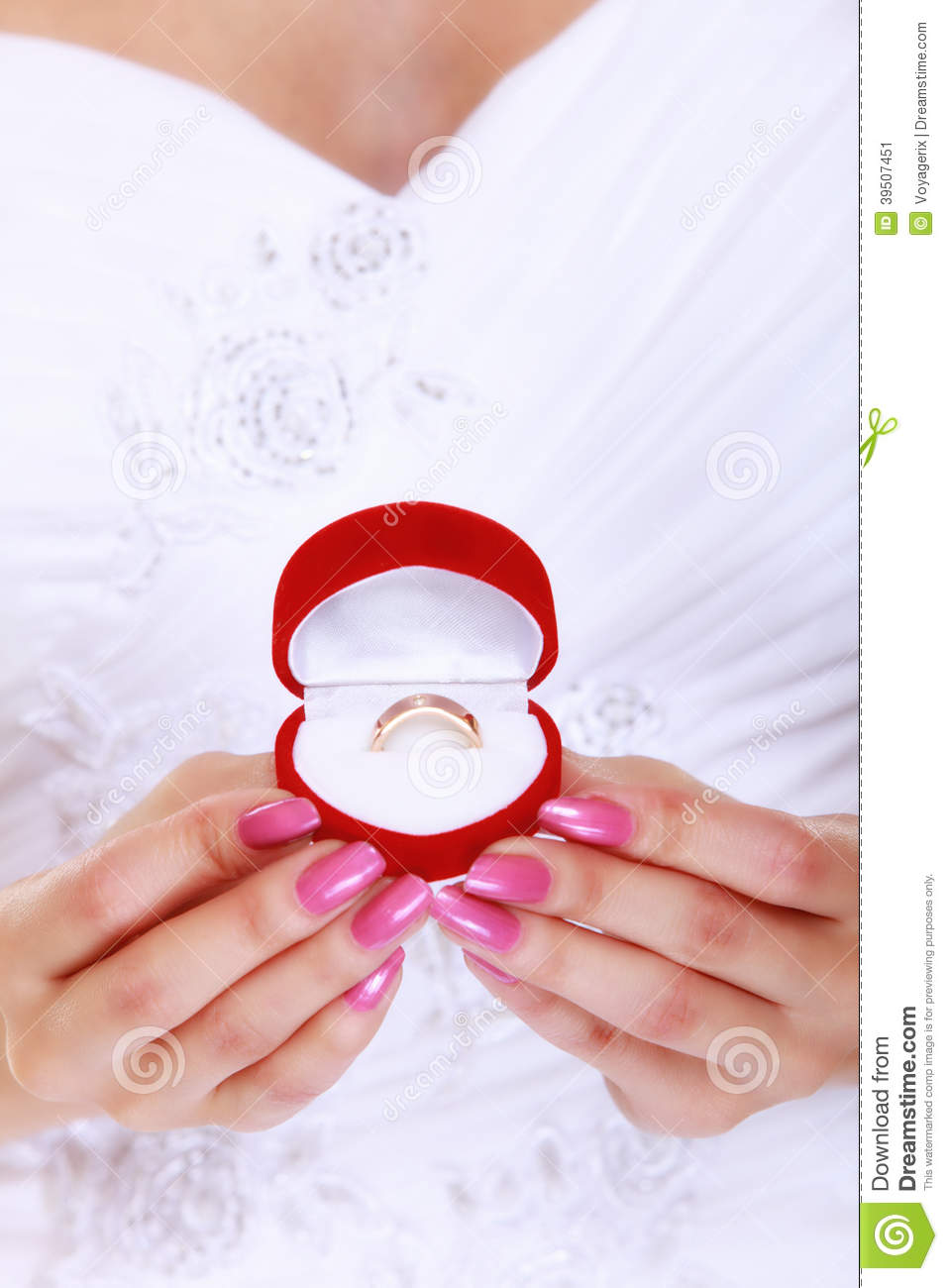 Girl showing engagement or wedding ring,