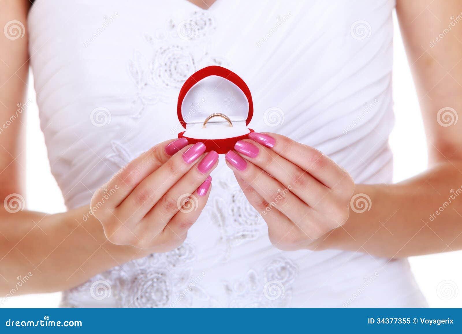 Girl Showing Engagement Or Wedding Ring, Isolated Stock Image ...