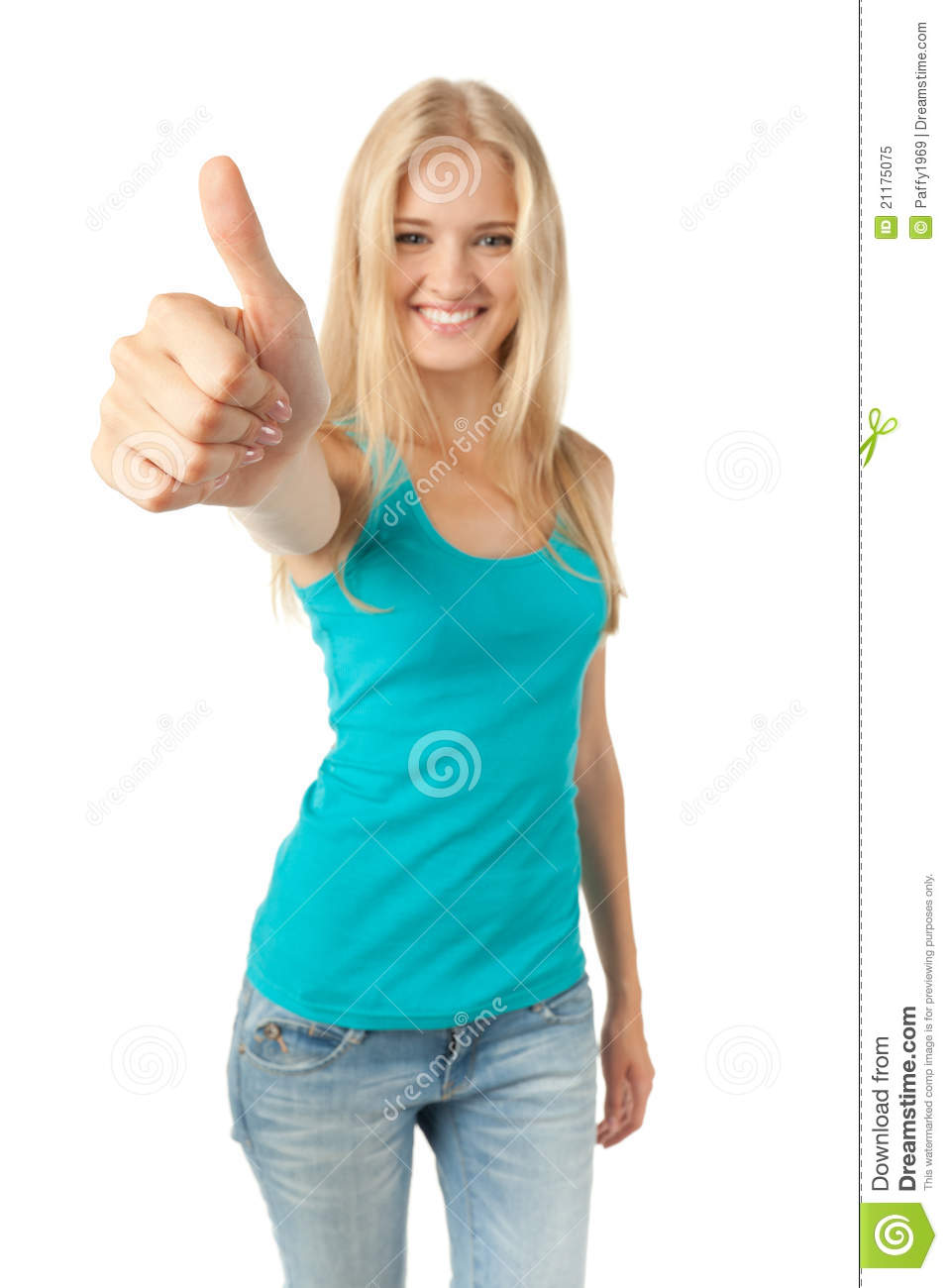 Girl showing thumb up sign