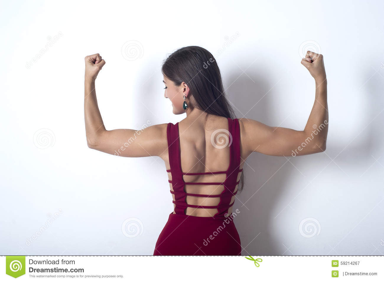Girl Shows The Muscles In Her Arms Stock Image Image Of Arms