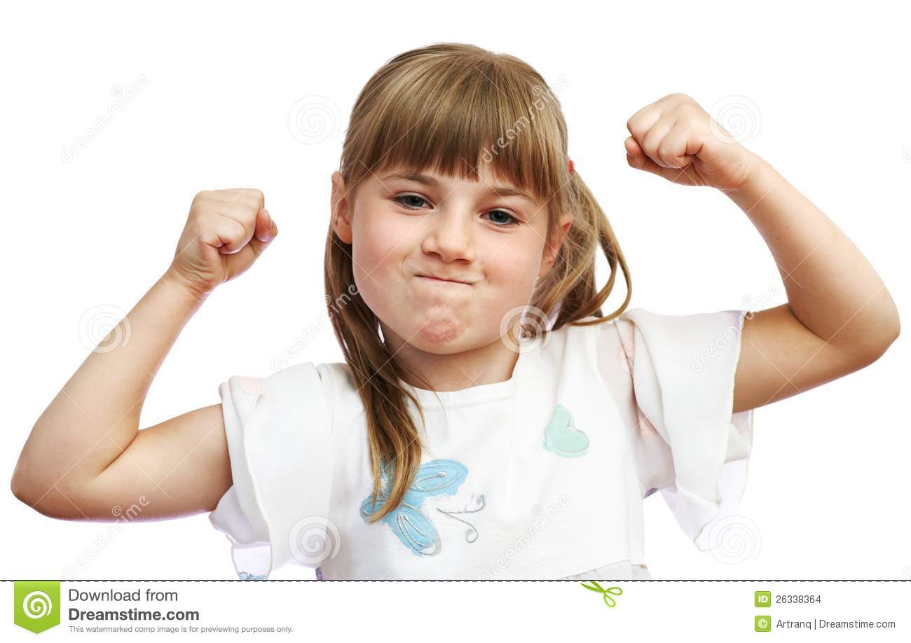 The Girl Shows That She Is Strong Stock Images - Image: 26338364