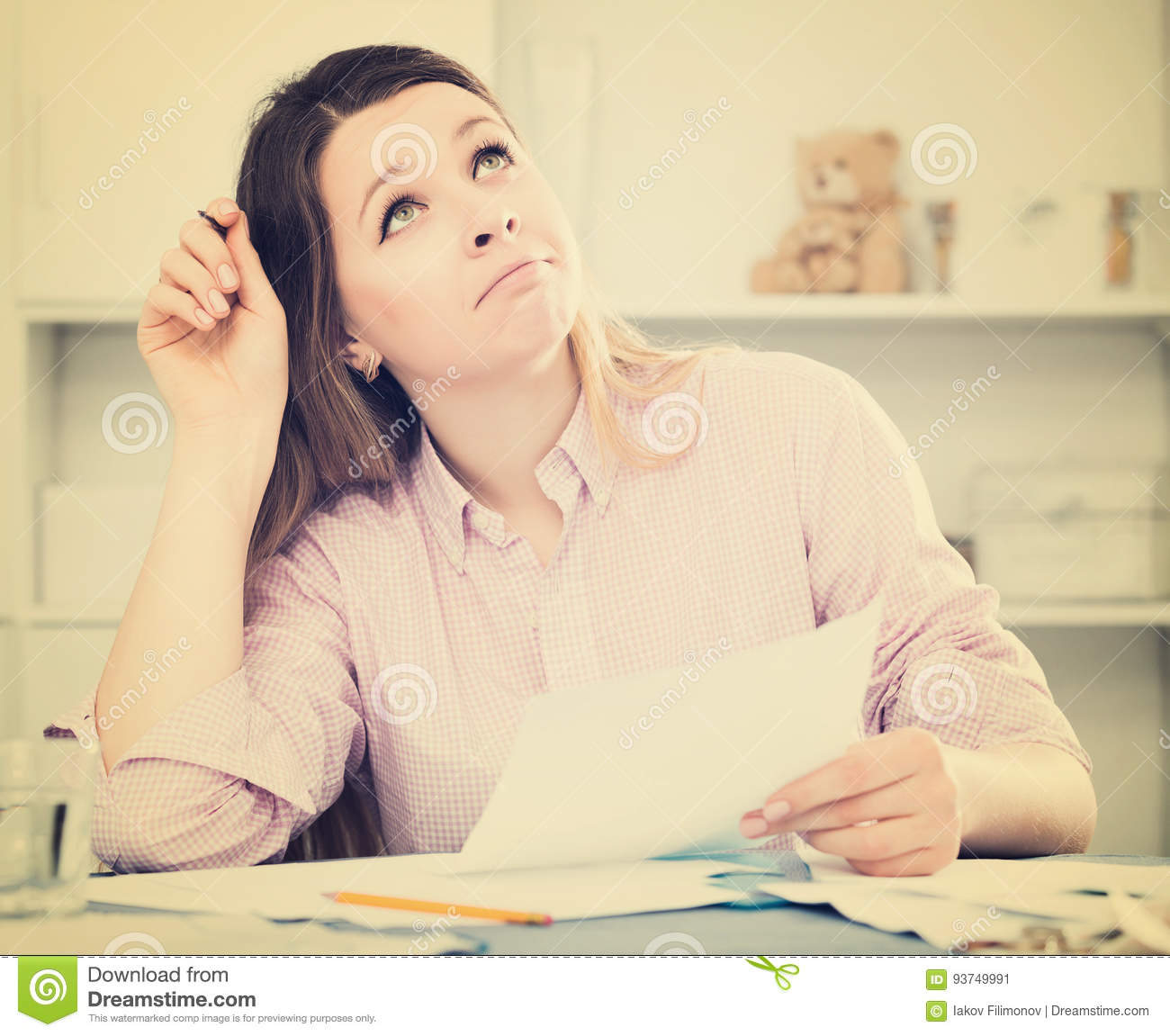 girl signing agreement papers stock image image of home financial