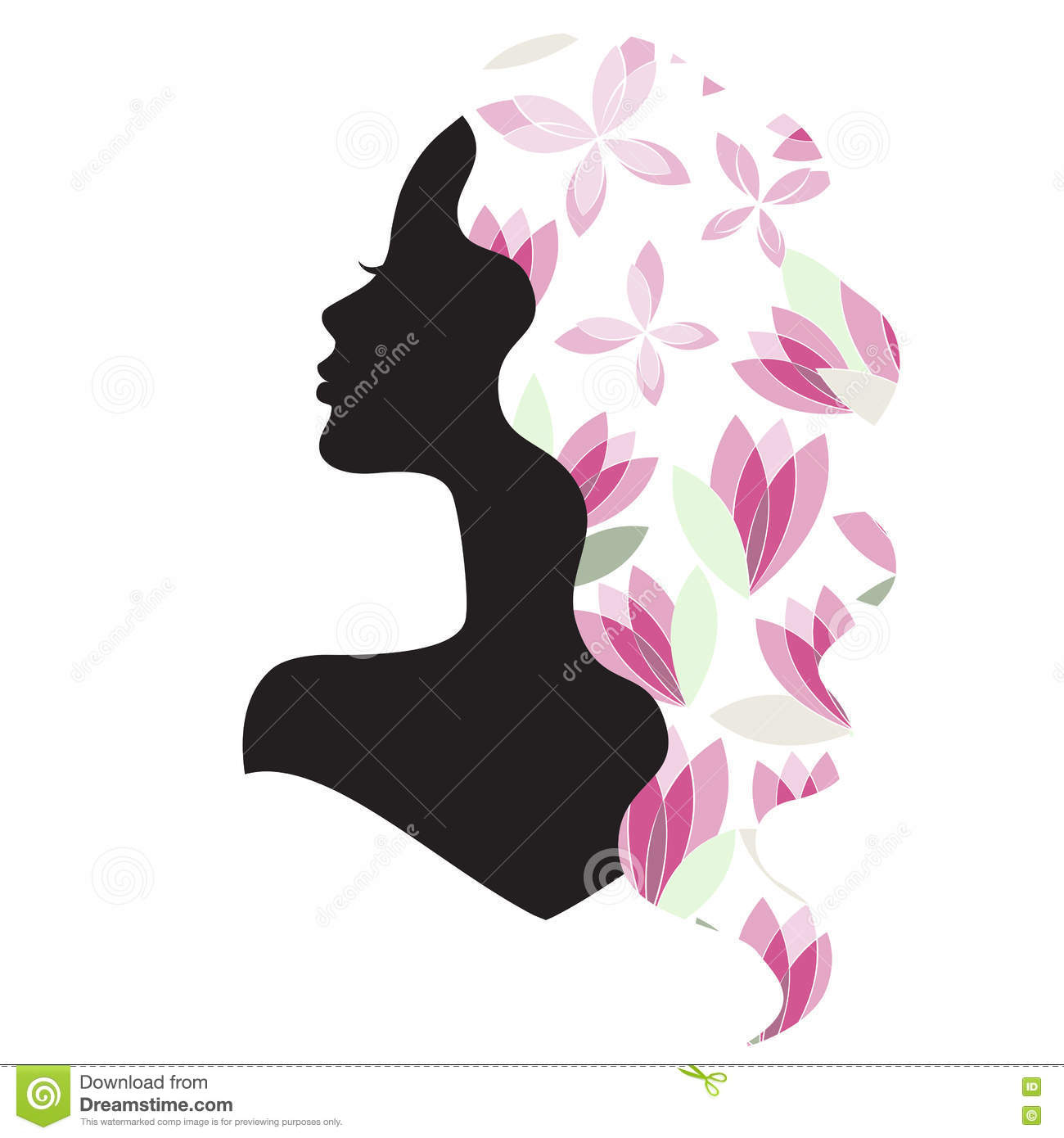Girl silhouette with beautiful hair and flowers stock vector download girl silhouette with beautiful hair and flowers stock vector illustration of female illustration izmirmasajfo