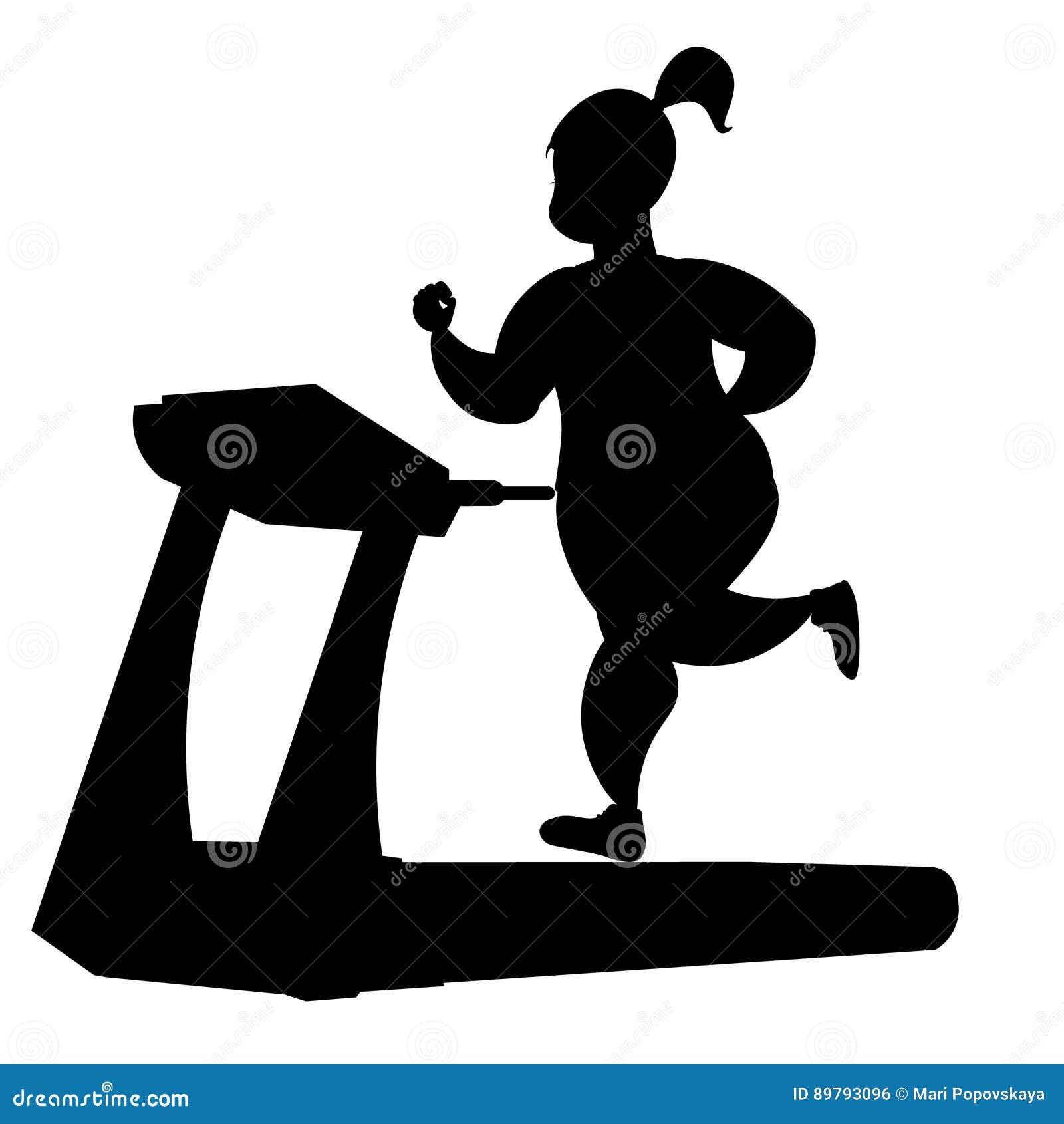 Girl silhouette running on a treadmill.