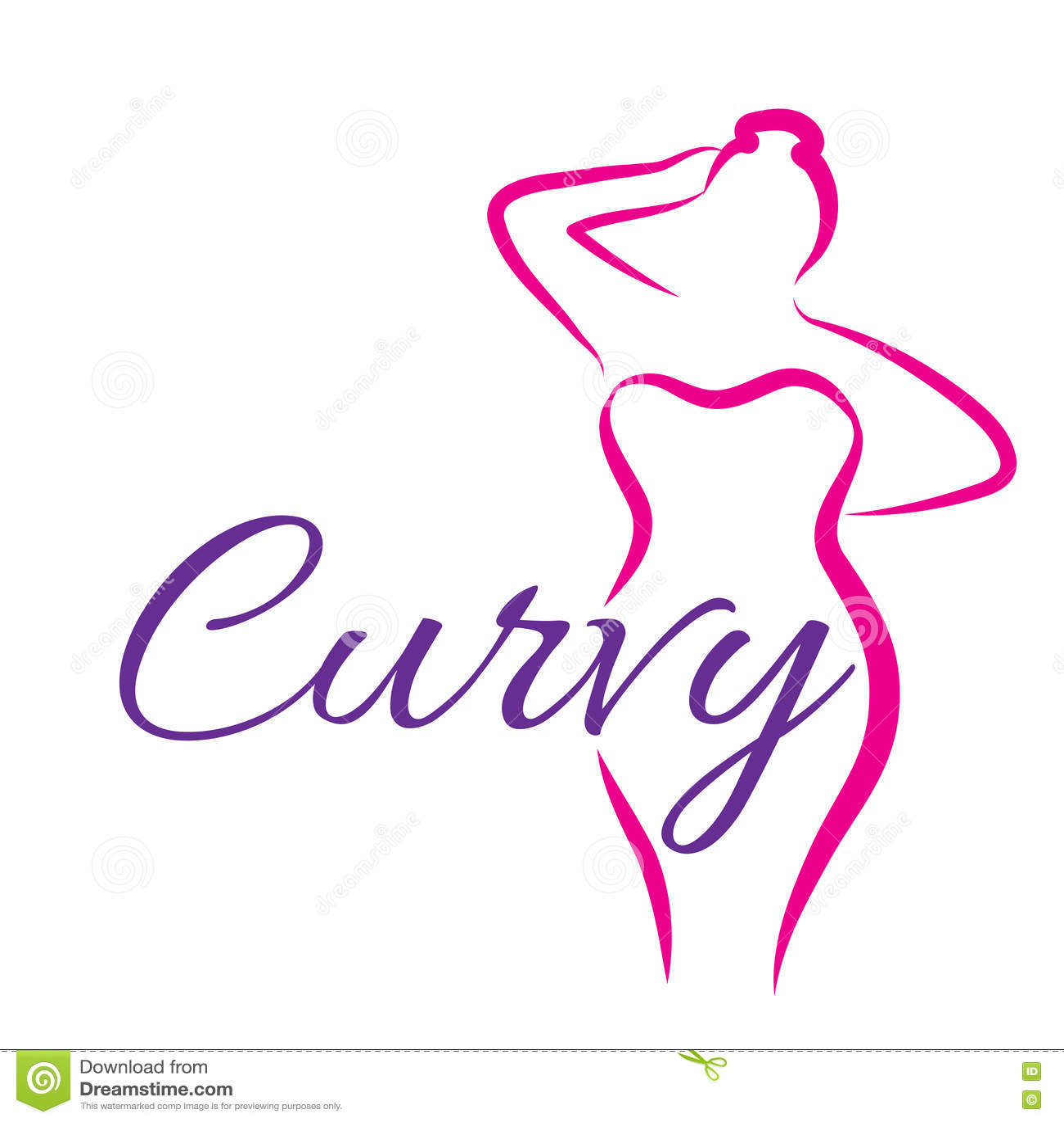 girl silhouette sketch plus size model curvy woman symbol