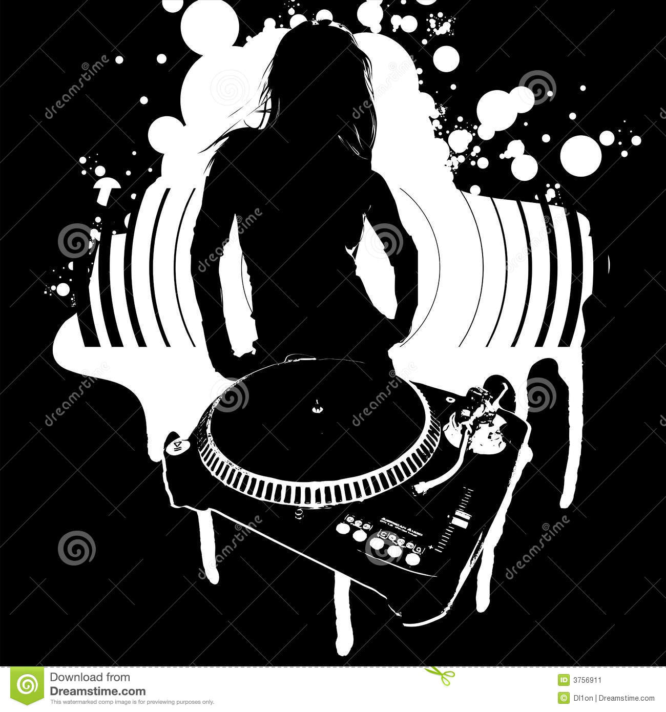 Girl Silhouette, Turntable and Sound. Vector Illustration.