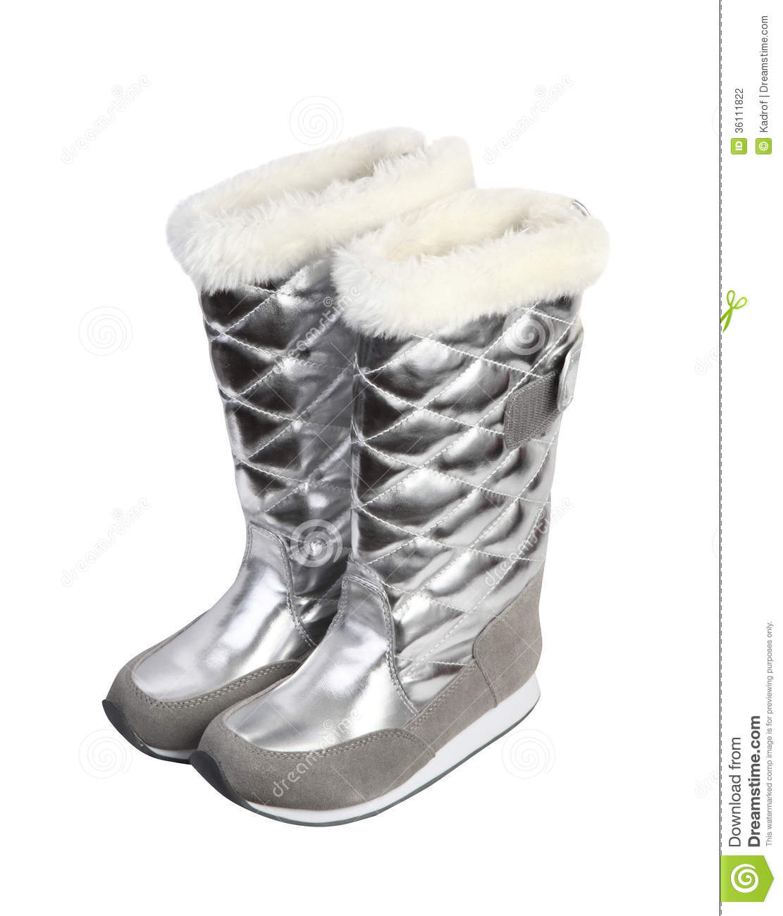 Girl silver winter boots stock photography image 36111822
