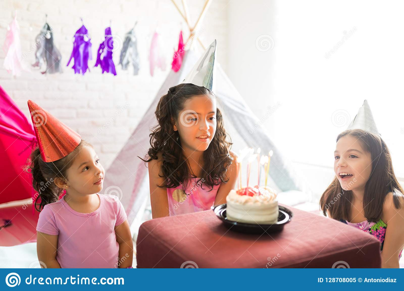 Swell Girl Singing Birthday Song For Friend Looking At Cake During Par Funny Birthday Cards Online Alyptdamsfinfo